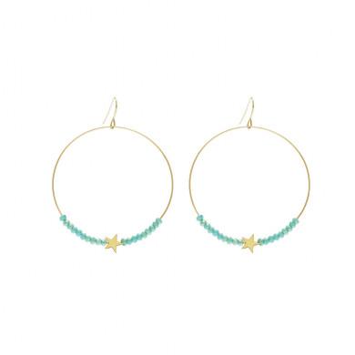 boucles-oreilles-creole-perles-turquoise-etoile-dore