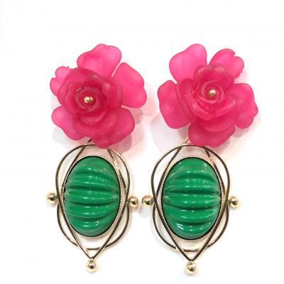 Boucles d oreilles de createur julie sion petinia rose