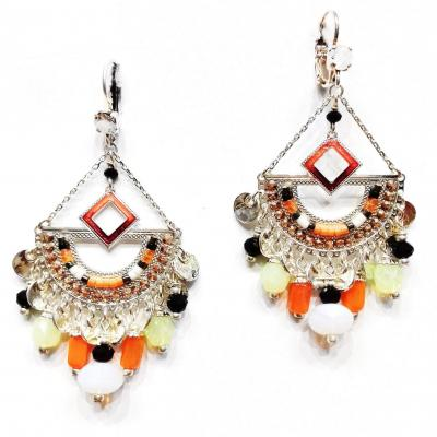 Boucles d oreilles idem eventail orange 1