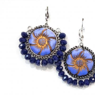 Boucles d oreilles spirit perles bleu