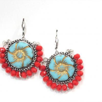 Boucles d oreilles spirit perles rouge