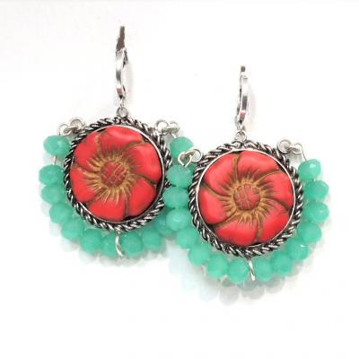 Boucles d oreilles spirit perles turquoise
