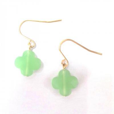 Boucles d oreilles zag trefle vert