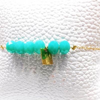 Bracelet zag boules turquoise
