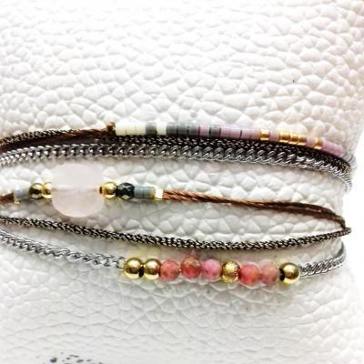 Bracelet zag double tour rose