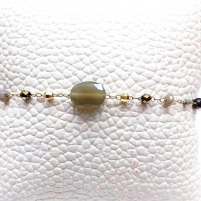 Bracelet zag fines pierres grises