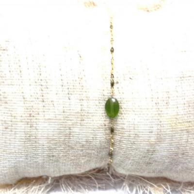 Bracelet zag pierres vertes