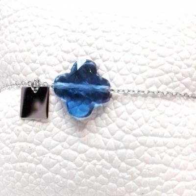 Bracelet zag trefle bleu