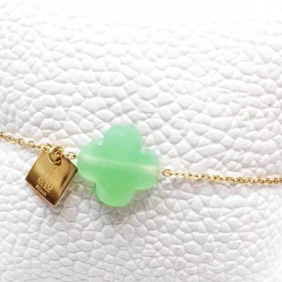 Bracelet zag trefle vert