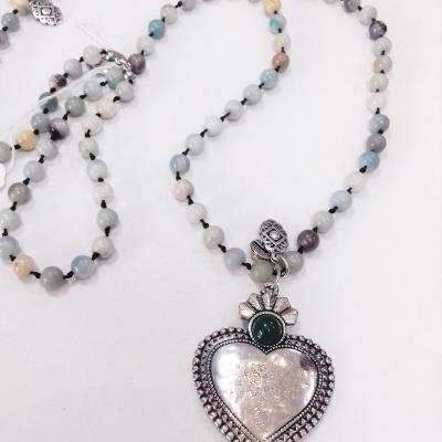 Collier amazonite coeur blow bijoux