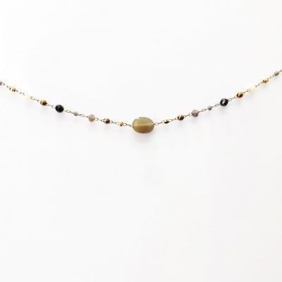 Collier zag perles fines grises