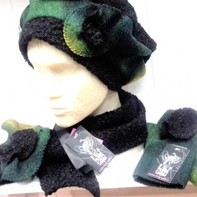 Ensemble bonnet echarpe gant les feetralala vert