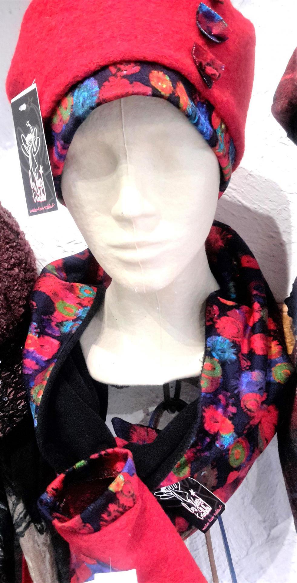 Ensemble snood bonnet gant de createur
