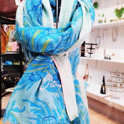 Foulard coton turquoise petrusse