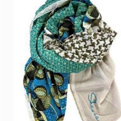 Foulard shanna vert bleu