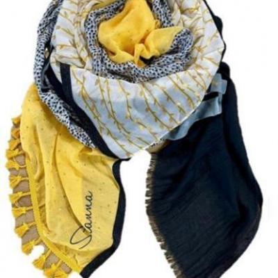 Marine et jaune n2 foulard shanna