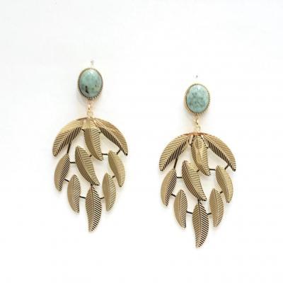 Zag bijoux feuilles turq